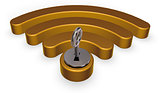 wifi symbol with keyhole - 3d rendering