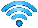 wifi symbol on white background - 3d rendering