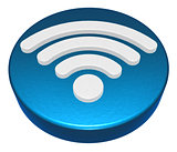 wifi symbol button on white background - 3d rendering