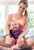 Mum and her baby child in pregnancy recovery course