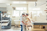 Wide view of bread production in bakery