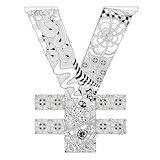 Symbol of yen zentangle. Vector decorative number
