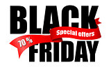 Inscription Black Friday with red ribbon