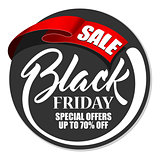 Label Black Friday with red ribbon