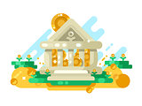 Bank abstract building with golden coin in storage