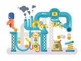 Crowdfunding abstract structure design flat