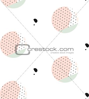 Cute vector seamless pattern . Brush strokes, circles and blots. Endless texture can be used for printing onto fabric or paper.