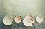 Empty ceramic bowls