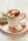 Mug filled with hot chocolate and marshmallows.