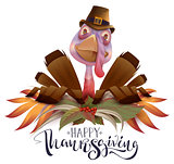 Happy Thanksgiving text greeting card. Bird turkey symbol of Thanksgiving Day