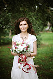 Boho chic bridal with wedding flowers