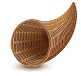 Brown wicker empty cornucopia basket