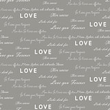 Love letters seamless vector gray pattern. Romantic valentine wrap paper design.