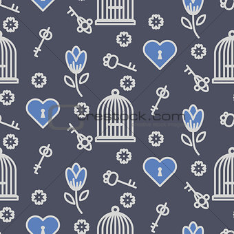 Bird cage romantic outline seamless vector pattern.