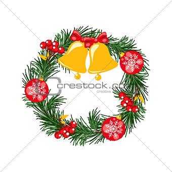 Door christmas decor. Pine tree wreath with bells and balls vector illustration.