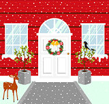 Christmas house outdoor decorations. Snowy weather vector illustration.