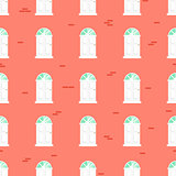 Doors seamless vector pattern and blue brick wall building.