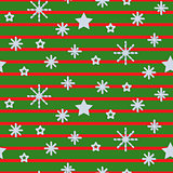 Snowflake striped green seamless vector pattern.