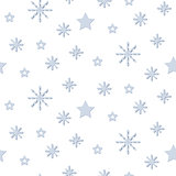 Snowflake blue and white winter seamless vector pattern.