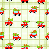 Winter tree on car roof green checkered seamless vector pattern.