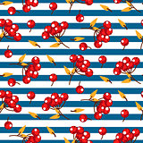 Rowan berry and leaves seamless striped vector pattern.