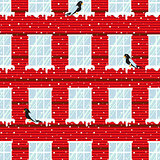 Windows seamless vector pattern and red wall building.