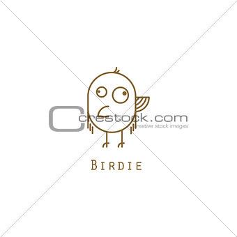 Bird logo gold line style vector.