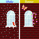 Windows on red brick wall building winter and summer comparison.