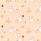 Cute bear and duck friends seamless vector pattern.