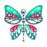 Green and blue cartoon butterfly isolated vector illustration.