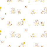 Cute bear and duck friends seamless vector pattern.