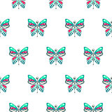 Butterfly green and blue baby seamless vector pattern.