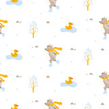 Cute bear and duck ice-skating on pond seamless vector pattern.