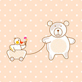 Cute bear and duck friends pink vector illustration for apparel polka print.