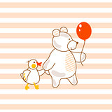 Cute bear and duck friends pink vector illustration for apparel striped print.