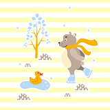 Cute bear and duck friends ice-skating vector illustration for print.