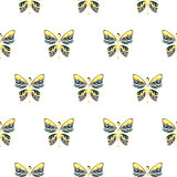 Butterfly yellow and blue baby seamless vector pattern.