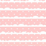 Pink and white polka dot clouds baby seamless vector pattern.