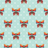 Butterfly blue polka dot baby seamless vector pattern.