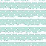 Blue and white polka dot clouds baby seamless vector pattern.