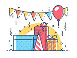 Gifts for holiday with balloon