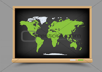 blackboard world map lesson
