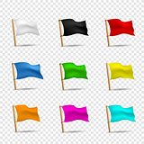 multicolored flags icon set