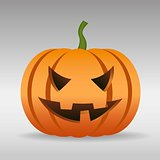 Halloween pumpkin with scary face isolated
