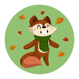 Vector Illustration of Cute Cartoon Fox and Autumn Leaves