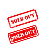 SOLD OUT stamp sign text red.