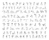 Cartoon icons set of sketch little people stick figure