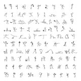 Cartoon icons set of 100 sketch little people stick figure