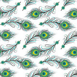 Seamless pattern of peacock feathers
