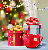 Background with Christmas tea